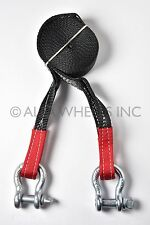"2"" 4 TON Recovery Tow Strap 30 ft w Bow Shackles winch sling off-road ATV snatch"