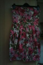 Ladies pink floral bustier style dress size 10 *TOPSHOP*