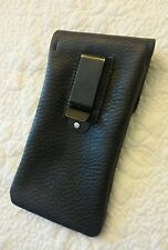 USA MADE - BLACK -  Soft REAL Leather Eyeglass Case Pouch Holster Belt Clip