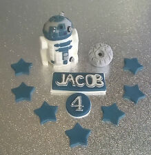 Star Wars R2D2 & Death Star edible handmade cake topper *Personalised*