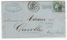 France Cover - Napoleon III - 1869 Toulouse to Grisolles - A la Corne Type RARE