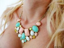Statement Kette pastell (Geschenk Halskette Vintage Necklace gold-bunt) NEU