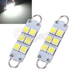 "2X White 1.73"" 44MM 5050 6SMD LED Rigid Loop Festoon Interior Light 566 567 561"