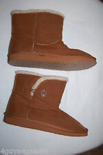 Toddler Baby Girls CAMEL BROWN CASUAL BOOTS Winter SHERPA LINED Button Side SZ 6