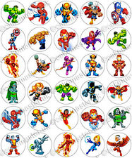 30 x Marvel Super Hero Squad Party Edible Rice Wafer Paper Cupcake Toppers