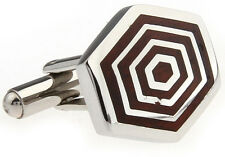 Wood and Stainless Steel Concentric Hexagon Wedding Cufflinks by COWAN BROWN