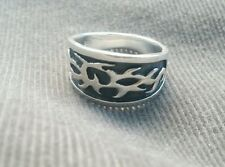 .925 Sterling Silver Ring sz 9.5 Celtic Flames Wide Band Oxidized mens womens