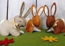 Felt Bunny Rabbit Craft Kit - Make Your Own x 3 Bunnies Wool Felt Sewing - Gift