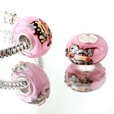 1pcs SILVER MURANO GLASS BEAD LAMPWORK Animal fit European Charm Bracelet ZZ290
