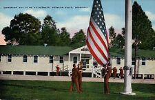 Keesler Field, Mississippi, Lowering the Flag, MS -- Old Vintage Linen Postcard