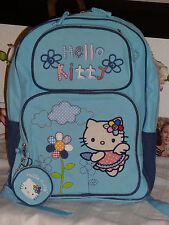 Hello Kitty Sanrio Canvas Blue Book Travel Bag Backpack + Coin Purse Exlarge