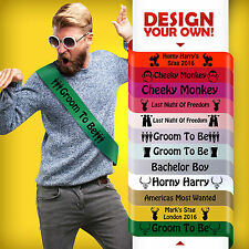 MENS CHEAP FUNNY STAG DO FANCY DRESS COSTUME TSHIRT PERSONALISED SASH 12 COLOUR*
