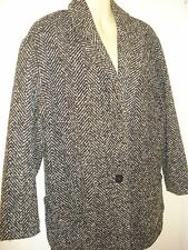 Women's Atmosphere Black Grey Tweed Long Jacket Coat 8 UK