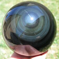 AA+ HUGE 110mm 3LB 9.4OZ Rainbows OBSIDIAN Crystal Sphere Ball