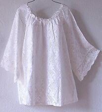 NEW~ONCE AGAIN~Ivory White Crochet Lace Peasant Blouse Shirt Plus Top~22/24/2X