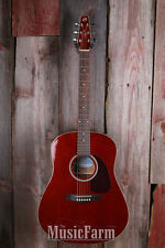 Seagull S6 Cedar Trans Red GT Acoustic Electric Guitar Dreadnought