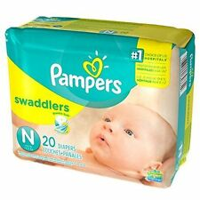 Lot of 240 Diapers - Pampers Swaddlers Size N (12 Packs of 20 Diapers Each)
