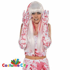 Adults Womens Bloody White Gloves Halloween Fancy Dress Costume Accessory