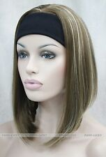 Light Brown Blonde Mixed Cute with headband Women 3/4 half Wig FTLD104
