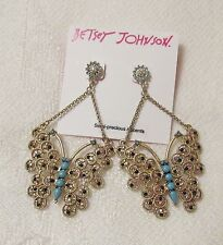 NWT BETSEY JOHNSON LG. BUTTERFLY DROP/ DANGLING EARRINGS..GOLD TONE
