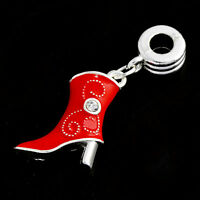 1pcs Red Enamel shoes Silver european Crystal Floating Beads for bracelets