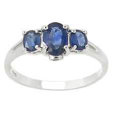 De Buman 1.04ctw Genuine Sapphire  Solid 925 Silver Ring Size 7
