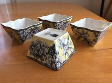 Adelaide Yellow Square Dessert  Bowls. Set Of 4. 222 Fifth. Porcelain. New
