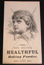 Vintage USA Advertising Card - Mrs Smiths Healthful Baking Powder