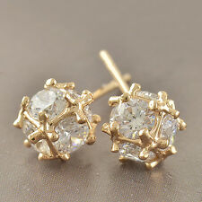 Classic 9K Yellow Gold Filled Cz Ball Womens Stud Earrings F6265