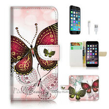 iPhone 6 6S (4.7') Flip Wallet Case Cover P2543 Butterfly