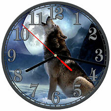 "8"" WALL CLOCK - Wolf 8 Wolves Spiritual - Kitchen Office Bathroom Bar Bedroom"