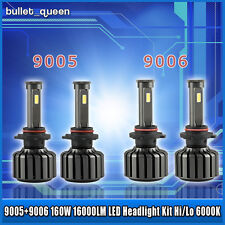 4PCS 9005 + 9006 160W 16000LM High Low Beam Bulbs CREE LED Headlight Kit 6000K