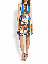 NWT Clover Canyon Grecian Bouquet Cut Out Neoprene Dress M Floral Striped Multi