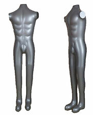 New Man Male Inflatable Model Dummy Torso Body Mannequin Silver Armless Display