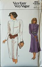 Uncut 80s Button Back Dress by Vogue 9642 Vtg Sewing Pattern B36 38 40