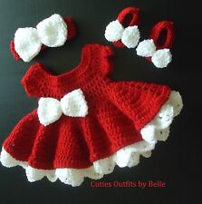 SALE! Handmade Red & White Baby Girl Crochet Dress Set Shoes Headband Bow Button