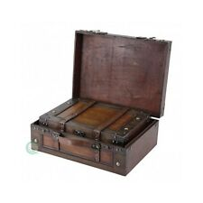 Steamer Trunk Suitcase Old Fashioned Luggage Leather Retro Antique Storage Boxes