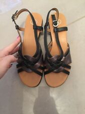 CLARKS Leather Strappy Navy & Pewter SANDALS Sz 6 WORN ONCE VGC