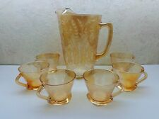 Vintage 1950's Jeanette Floragold Depression Glass Pitcher/6 Square Bottom Cups