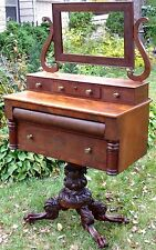 ANTIQUE MAHOGANY 1825 DRESSING TABLE VANITY NEO CLASSICAL EMPIRE RARE FURNITURE