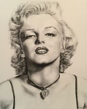 Marilyn Monroe Portrait Print from Original Pencil Graphite Drawing 11x14