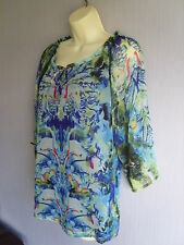 Lightweight Multi Print Fully Lined Chiffon Blouse Gypsy top Sz 10 New £45
