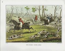 """1972 Vintage Currier & Ives HUNTING """"FOX CHASE"""" ON HORSES COLOR Print Lithograph"""