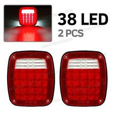Pair Jeep Style 38LED Stop Turn Tail Lights w/License Lamp Semi Truck Stud Mount