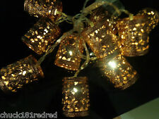 10 Brown Copper Moroccan Lantern String/Fairy Lights/christmas Table Decoration