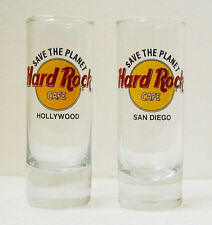 HARD ROCK CAFE HOLLYWOOD & SAN DIEGO Save The Planet SHOT GLASSES - Collectible
