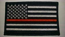 """Thin Red Line USA Flag Patch Velcro Patch New 3.5"""" X 2"""" Fire Fighter"""