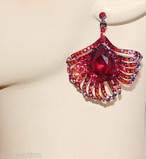 PRETTY AS A PEACOCK RED RUBY & AB RHINESTONE CRYSTAL DINGLE  EARRINGS