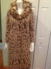 Valentino Women Beautiful Animal Print Coat With Natural Fur Hood Size XS