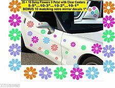 35 +10 MATCHING MIRROR DAISY FLOWER CAR WALL STICKERS VINYL DECALS RETRO COLORS